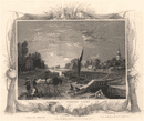 'Sunbury Locks'. Surrey. Decorative view by William TOMBLESON 1835 old print